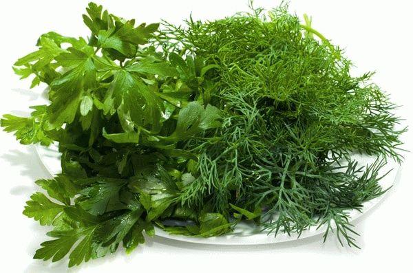 зелень на тарелке