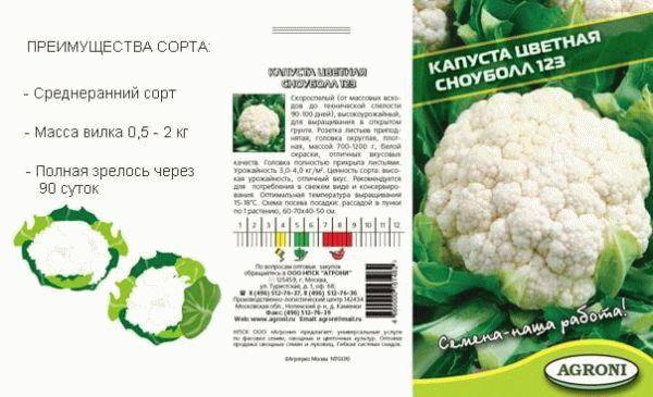 Характеристика сорта цветной капусты Сноуболл